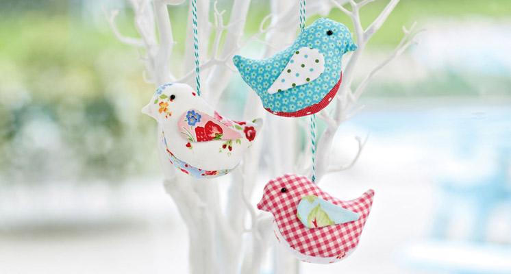 Fabric Bird Ornaments