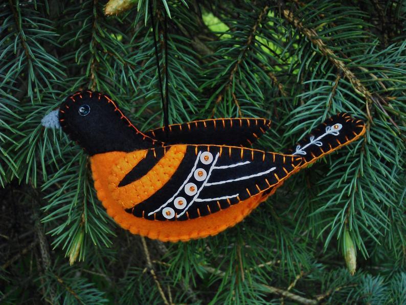 Patricia Welch Felt Bird ornaments