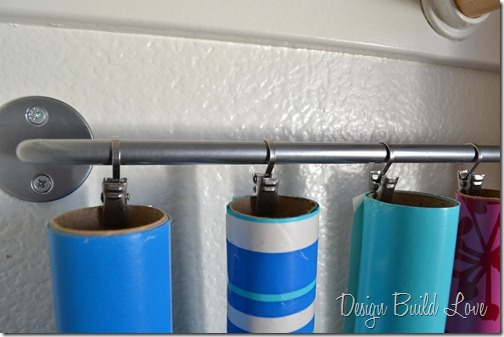 Curtain Rod Wrapping Paper Storage